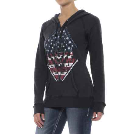 Rock & Roll Cowgirl Americana Print Hoodie (For Women) in Black - Overstock