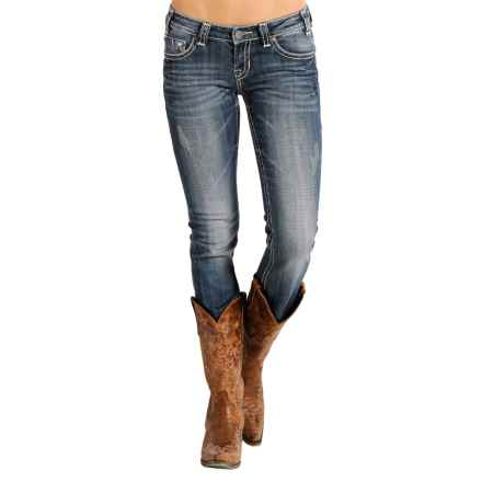 Rock & Roll Cowgirl Angled Feather Rival Skinny Jeans - Low Rise (For Women) in Dark Vintage Wash - Closeouts