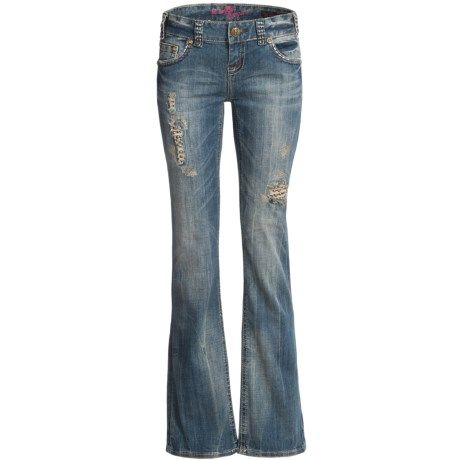 Rock & Roll Cowgirl Asymmetrical Deco Flap Pocket Jeans - Low Rise, Bootcut (For Women) in Medium Wash