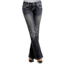 Rock & Roll Cowgirl Asymmetrical Pyramid Nailhead Flap Pocket Jeans - Low Rise, Bootcut (For Women) in Dark Wash
