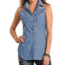 Rock & Roll Cowgirl Aztec Chambray Shirt - Sleeveless (For Women) in Blue - Closeouts
