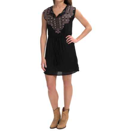 Rock & Roll Cowgirl Aztec Embroidered Dress - Sleeveless (For Women) in Black - Overstock