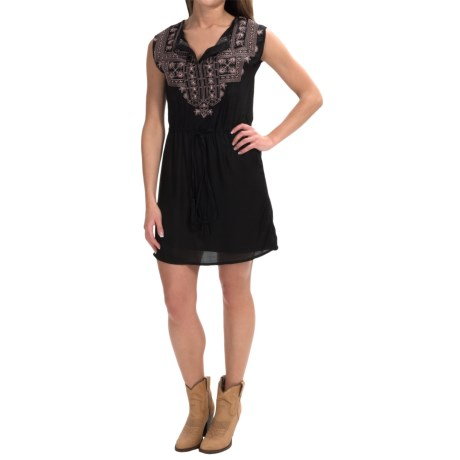 Rock and Roll Cowgirl Aztec Embroidered Dress Sleeveless (For Women)