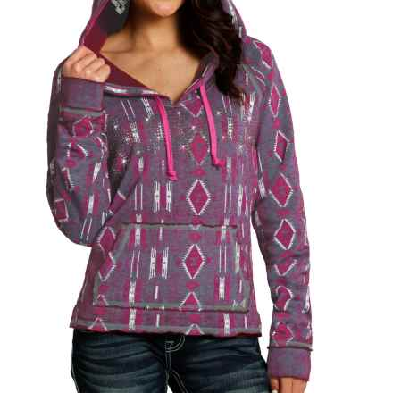 Rock & Roll Cowgirl Aztec Hoodie (For Women) in Purple Aztec - Closeouts