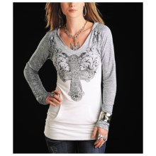 Rock & Roll Cowgirl Aztec Hoodie Tunic Shirt - Long Sleeve (For Women) in White - Closeouts
