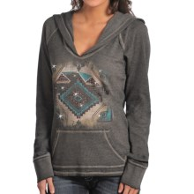Rock & Roll Cowgirl Aztec Hoodie - V-Neck (For Women) in Charcoal - Closeouts