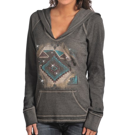 Rock & Roll Cowgirl Aztec Hoodie - V-Neck (For Women) in Charcoal