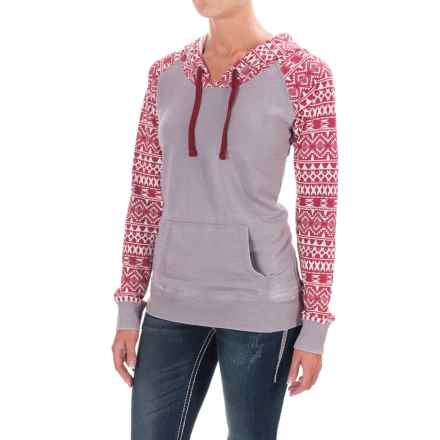 Rock & Roll Cowgirl Aztec Print Hoodie (For Women) in Grey/Red - Closeouts