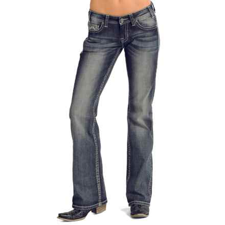 Rock & Roll Cowgirl Aztec Triangle Riding Jeans - Bootcut (For Women) in Medium Vintage Wash - Closeouts