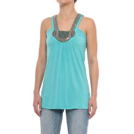 Rock & Roll Cowgirl Beaded Neckline Tank Top (For Women) in Turquoise - Closeouts