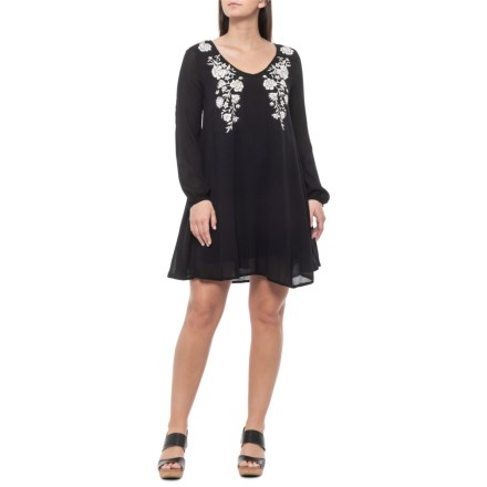 2c98ed701a Rock & Roll Cowgirl Black Embroidered A-Line Dress - Long Sleeve (For Women