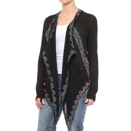 Rock & Roll Cowgirl Blanket Wrap Cardigan Jacket - Open Front(For Women) in Black - Closeouts