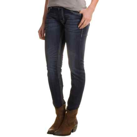 Rock & Roll Cowgirl Border Embroidery Skinny Jeans - Mid Rise (For Women) in Dark Vintage - Closeouts