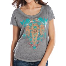 Rock & Roll Cowgirl Boxy Aztec Shirt - Short Sleeve (For Women) in Natural/Grey Multi - Closeouts