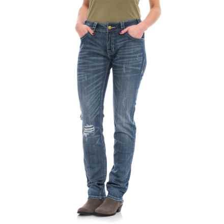 Rock & Roll Cowgirl Boyfriend Skinny Jeans (For Women) in Medium Vintage - Closeouts