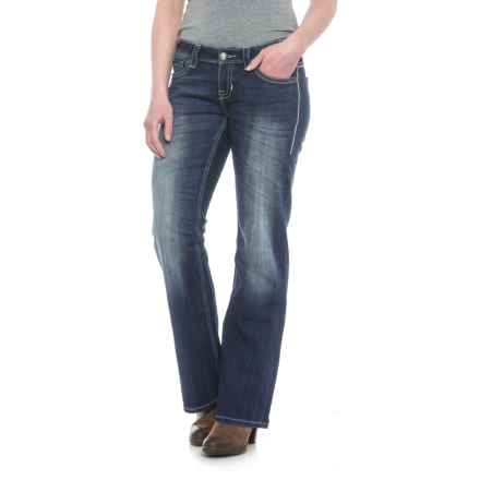 Rock & Roll Cowgirl Brushed Silver Trim Riding Jeans - Bootcut (For Women) in Dark Vintage - Closeouts