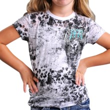 Rock & Roll Cowgirl Burnout Animal Print T-Shirt - Short Sleeve (For Girls) in White - Closeouts