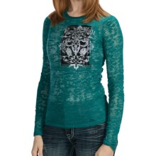 Rock & Roll Cowgirl Burnout Applique Shirt - Long Sleeve (For Women) in Teal - Closeouts