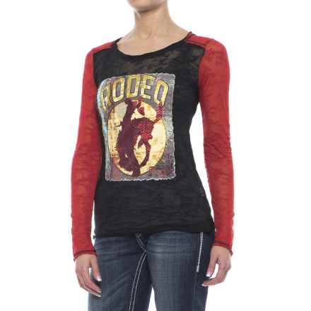 Rock & Roll Cowgirl Burnout Rodeo Screenprint Shirt - Long Sleeve (For Women) in Black - Closeouts