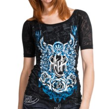 Rock & Roll Cowgirl Burnout Sleeve Shirt - Short Sleeve (For Women) in Black - Closeouts