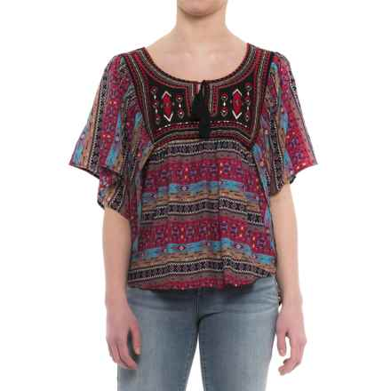 Rock & Roll Cowgirl Butterfly Peasant Blouse - Elbow Sleeve (For Women) in Pink/Blue/Multi - Closeouts