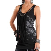 Rock & Roll Cowgirl Chain and Fringe Tank Top (For Women) in Black - Closeouts