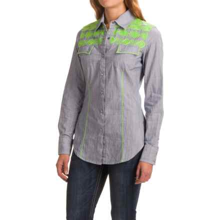 Rock & Roll Cowgirl Chambray Embroidered Shirt - Snap Front, Long Sleeve (For Women) in Powder Blue - Closeouts