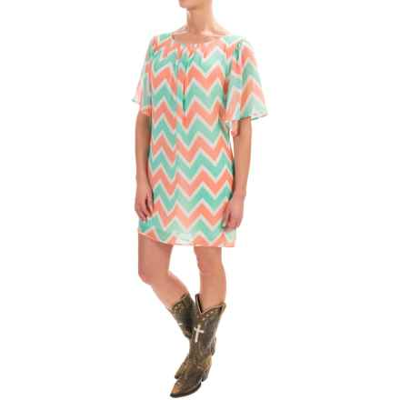 Rock & Roll Cowgirl Chevron Chiffon Shift Dress - V-Neck, Short Sleeve (For Women) in Natural - Closeouts