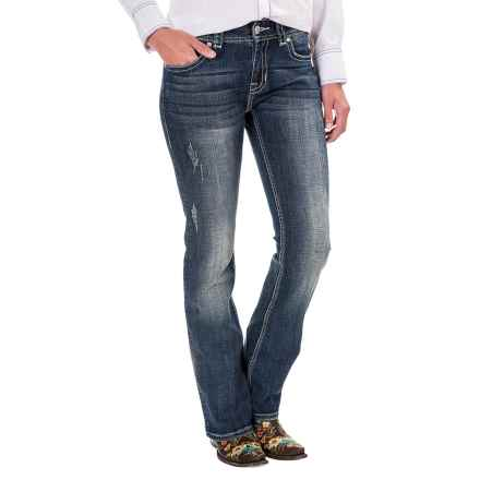 Rock & Roll Cowgirl Chevron Crossing Jeans - Mid Rise, Bootcut (For Women) in Dark Vintage - Closeouts