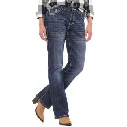 Rock & Roll Cowgirl Chevron Design Jeans - Boyfriend Fit, Bootcut (For Women) in Dark Vintage Wash - Closeouts