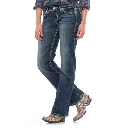 Rock & Roll Cowgirl Chevron Design Jeans - Riding Fit, Bootcut (For Women) in Dark Vintage - Closeouts