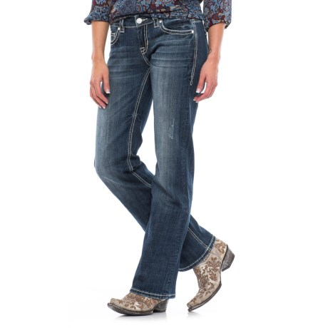 Rock & Roll Cowgirl Chevron Design Jeans - Riding Fit, Bootcut (For Women) in Dark Vintage