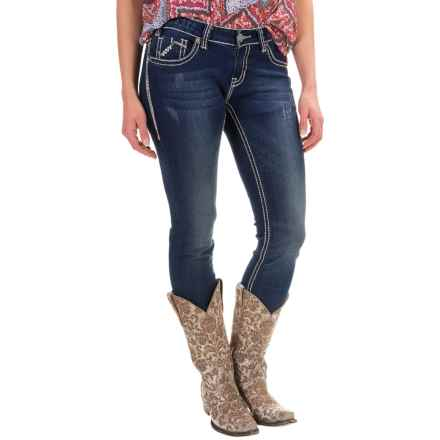 Rock & Roll Cowgirl Chevron Embroidery Skinny Jeans - Low Rise (For Women) in Dark Vintage - Closeouts