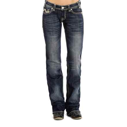 Rock & Roll Cowgirl Chevron Jeans - Riding Fit, Bootcut (For Women) in Dark Vintage Wash - Closeouts