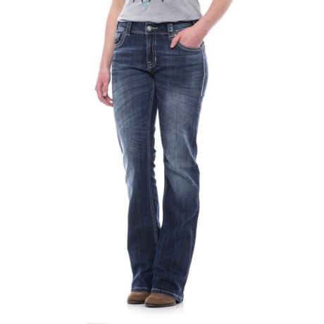 Rock & Roll Cowgirl Chevron Leather and Rhinestone Pocket Jeans - Boyfriend Fit, Bootcut (For Women) in Dark Vintage Wash