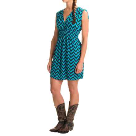 Rock & Roll Cowgirl Chevron Print Jersey Dress - Sleeveless (For Women) in Bright Turquoise - Closeouts