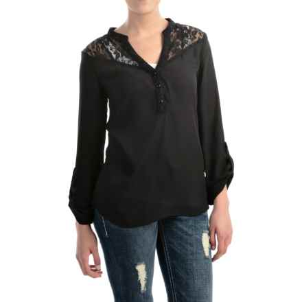 Rock & Roll Cowgirl Chiffon Lace Shirt - V-Neck, Long Sleeve (For Women) in Black - Closeouts