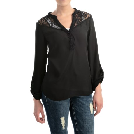 Rock and Roll Cowgirl Chiffon Lace Shirt V Neck, Long Sleeve (For Women)