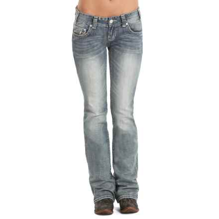 Rock & Roll Cowgirl Classic Multi-Stitch Jeans - Low Rise, Bootcut (For Women) in Light Vintage Wash - Closeouts
