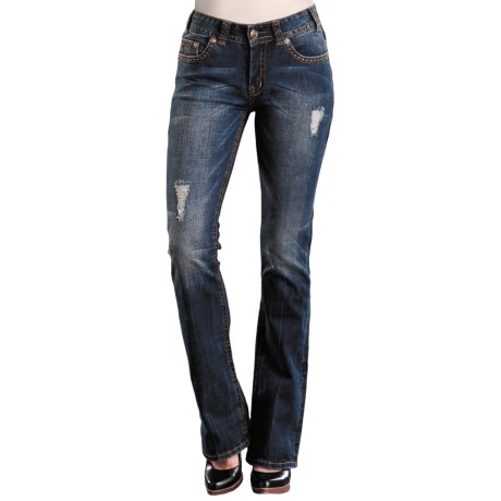 Rock & Roll Cowgirl Contrast Bean Stitch Jeans - Mid Rise, Bootcut (For Women) in 43 Med Wash