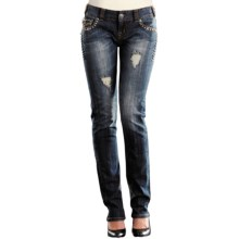 Rock & Roll Cowgirl Contrast Stitch Nailhead Trim Skinny Jeans - Low Rise (For Women) in Med Wash - Closeouts