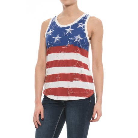 Rock & Roll Cowgirl Cowgirl American Flag Tank Top - Sleeveless (For Women) in White