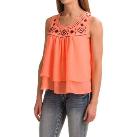 Rock & Roll Cowgirl Crepe and Southwest Embroidery Georgette Tank Top (For Women) in Coral - Closeouts