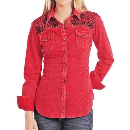 Rock & Roll Cowgirl Crinkle Wash Shirt - Snap Front, Long Sleeve (For Women) in Red - Closeouts