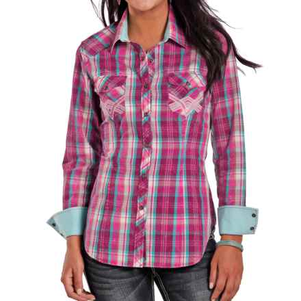 Rock & Roll Cowgirl Crinkle-Washed Plaid Shirt - Snap Front, Long Sleeve (For Women) in Hot Pink - Closeouts