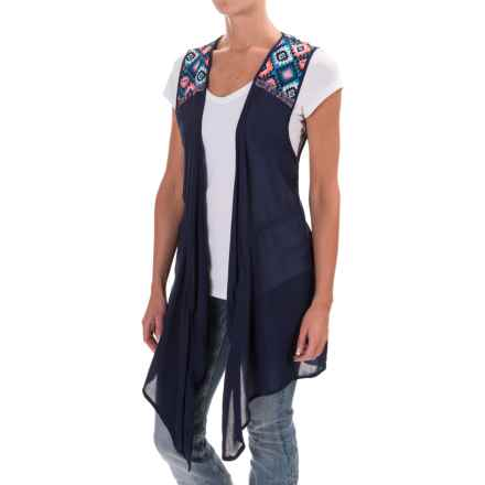 Rock & Roll Cowgirl Crinkled Kimono Vest (For Women) in Navy - Closeouts