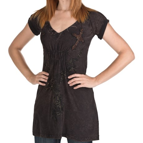 Rock & Roll Cowgirl Cross Applique Distress Dress - Smocked Peasant Short Sleeve, V-Neck (For Women) in 20 Chocolate