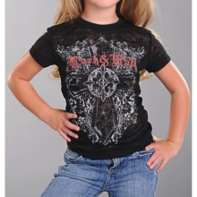 Rock & Roll Cowgirl Cross Burnout T-Shirt - Short Sleeve (For Girls) in Black - Closeouts