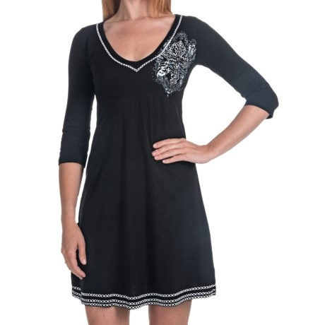 Rock & Roll Cowgirl Cross Embroidered Smocked Dress - V-Neck, Short Sleeve (For Women) in Black W/Cross