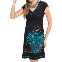 Rock & Roll Cowgirl Cross Embroidered Smocked Dress - V-Neck, Short Sleeve (For Women) in Black W/Wing Cross - Closeouts